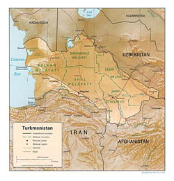 Detailed political and administrative map of Turkmenistan with relief - 1994.