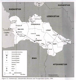 Large administrative map of Turkmenistan - 1996.
