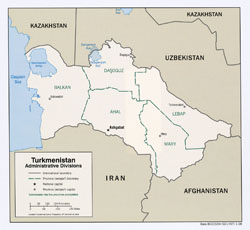 Large detailed administrative divisions map of Turkmenistan - 2008.