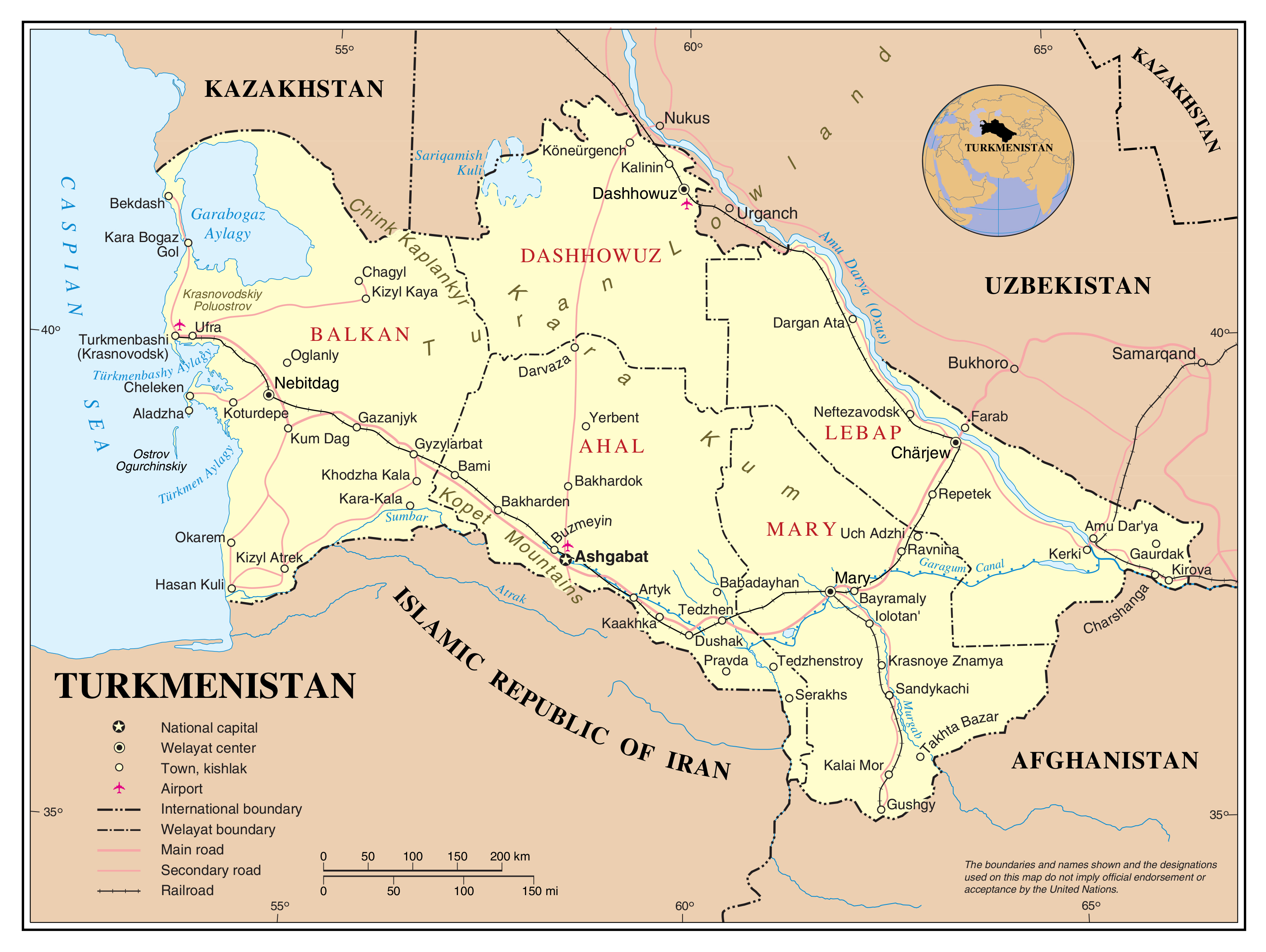 Maps Of Turkmenistan Detailed Map Of Turkmenistan In English - Russia administrative map