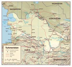Large detailed political map of Turkmenistan with relief, roads and major cities - 2008.