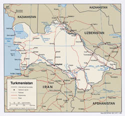Large detailed political map of Turkmenistan with roads and major cities - 2008.