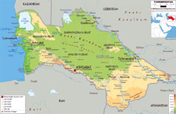 Large physical map of Turkmenistan with roads, cities and airports.