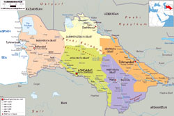 Large political and administrative map of Turkmenistan with roads, cities and airports.