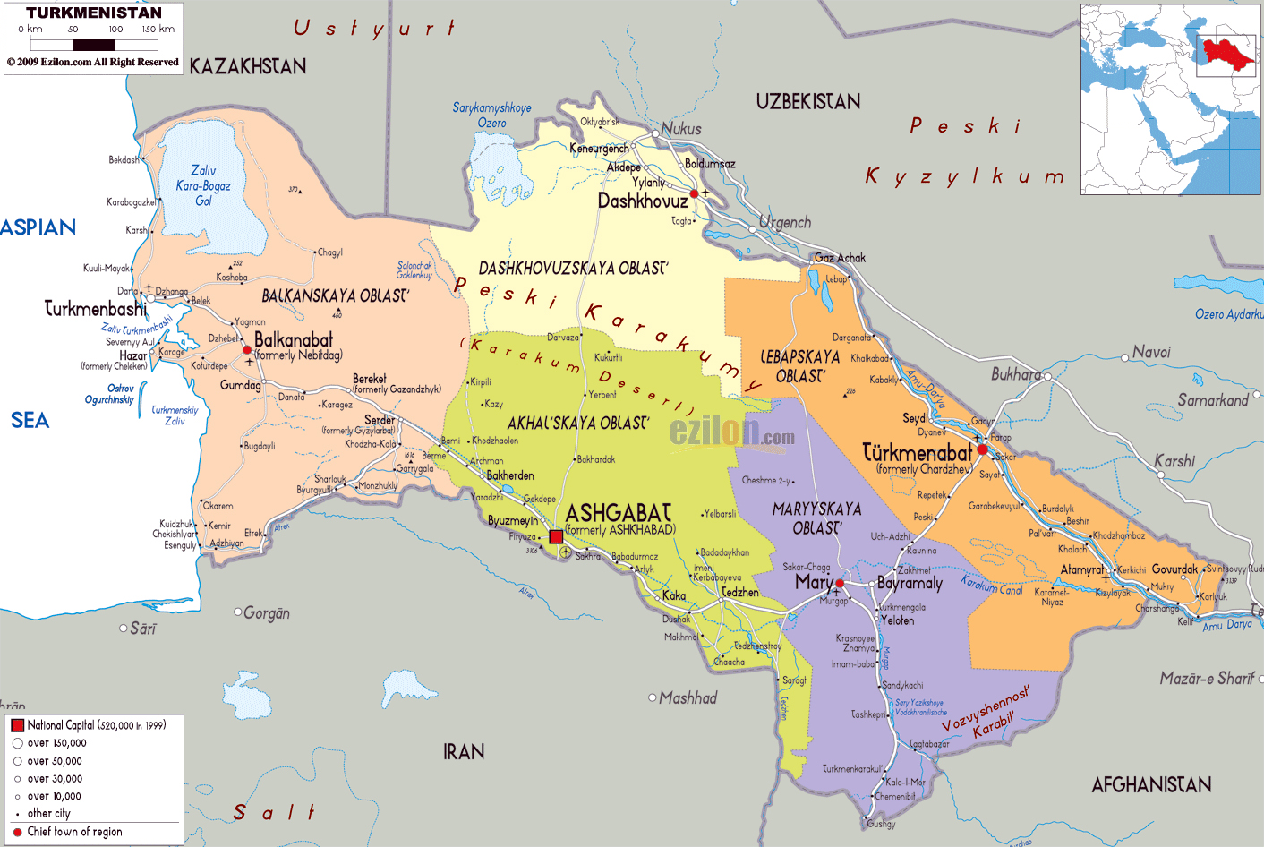 Maps of Turkmenistan Detailed map of Turkmenistan in English Tourist map