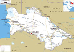 Large road map of Turkmenistan with cities and airports.