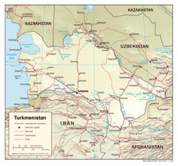 Large scale political map of Turkmenistan with relief, roads and major cities - 2008.