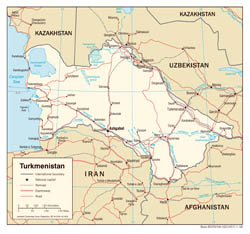 Large scale political map of Turkmenistan with roads and major cities - 2008.