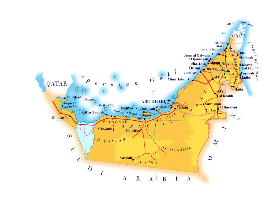 Maps of United Arab Emirates Detailed map of UAE in English