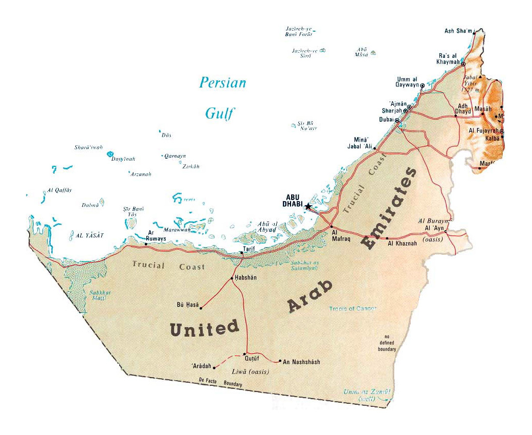 detailed map of uae