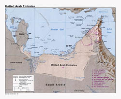 Detailed political map of United Arab Emirates with relief - 1984.