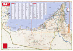 Detailed road map of United Arab Emirates with relief and all cities.