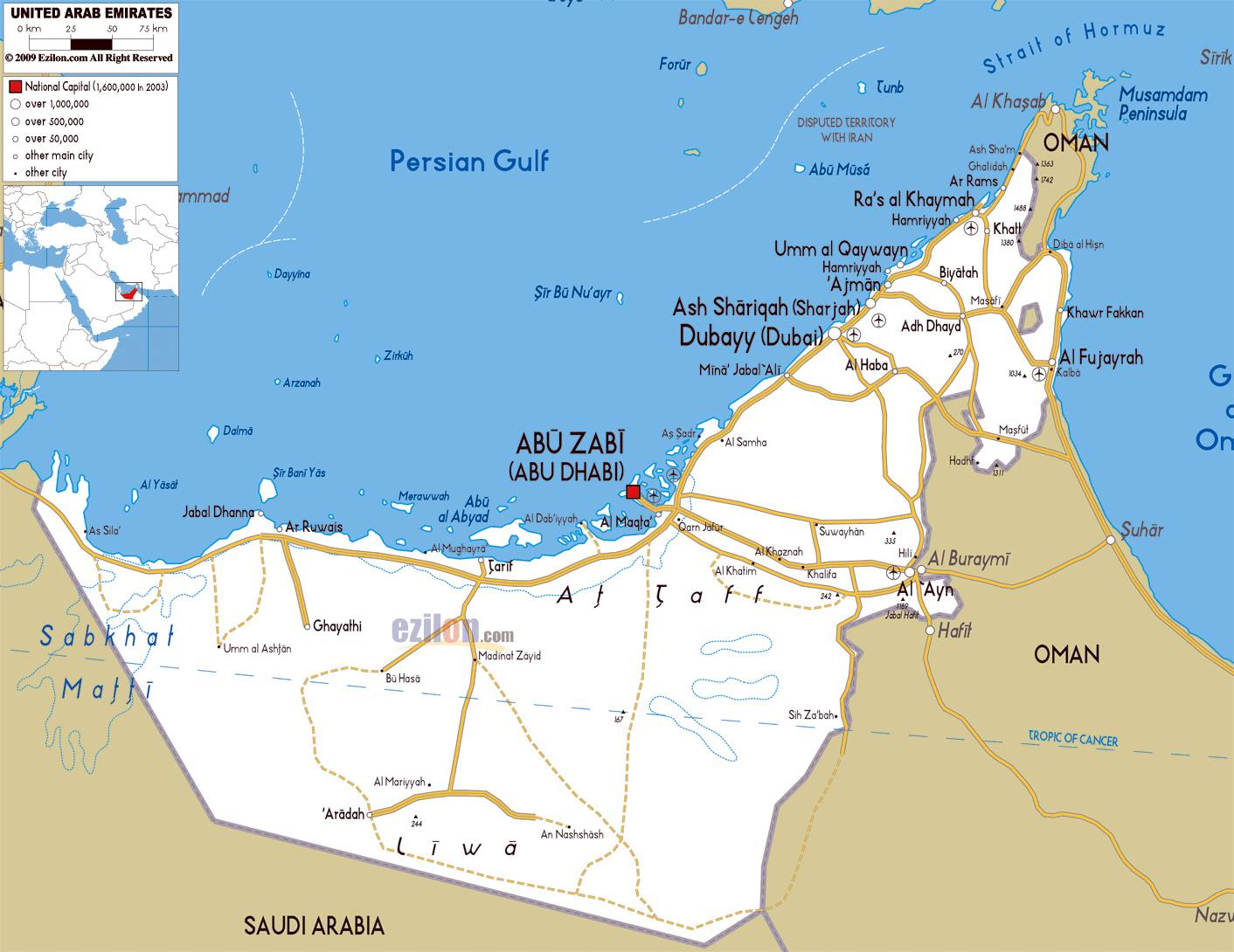 Maps of United Arab Emirates | Detailed map of UAE in English ...
