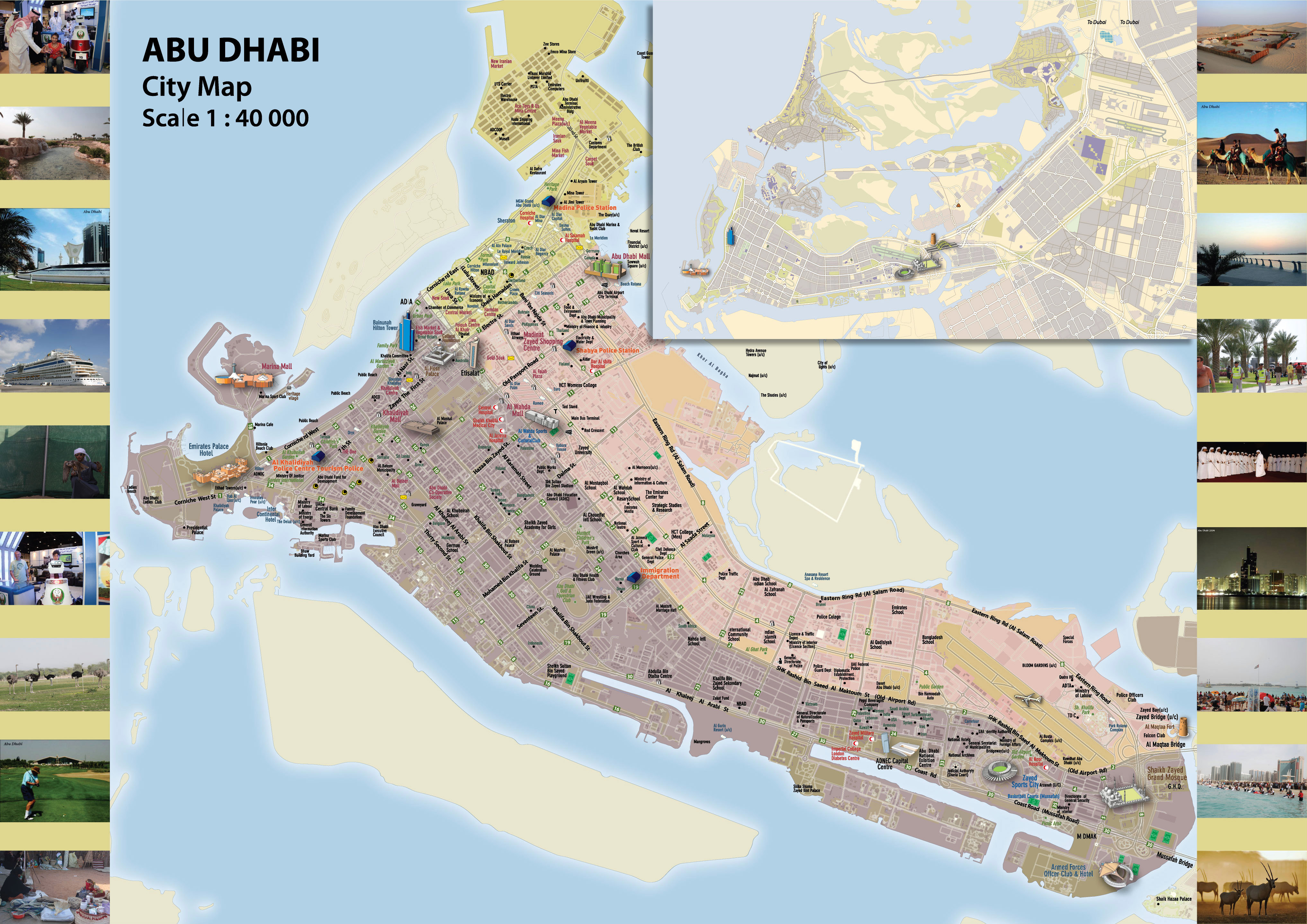 Maps of Abu Dhabi Detailed map of Abu Dhabi city in English Maps