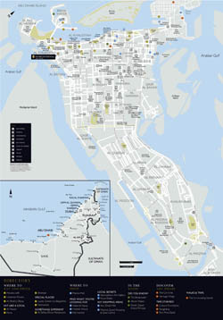 Large detailed road and tourist map of Abu Dhabi city.