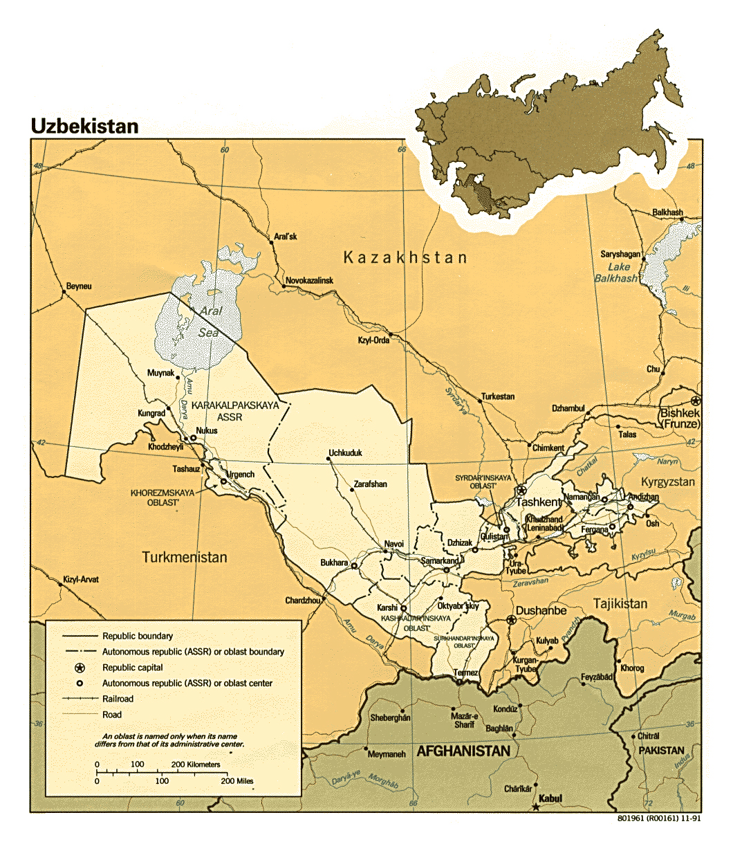 Maps of uzbekistan detailed map of uzbekistan in english detailed political and administratie map of uzbekistan 1991 gumiabroncs Images