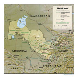 Detailed political and administrative map of Uzbekistan with relief, roads and major cities - 1994.