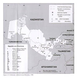 Large administrative map of Uzbekistan - 1996.