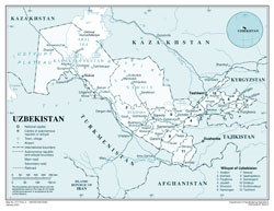 Large detailed political and administrative map of Uzbekistan.