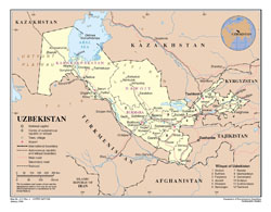 Large detailed political and administrative map of Uzbekistan with roads, cities and airports.