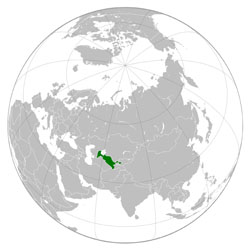 Large location map of Uzbekistan.
