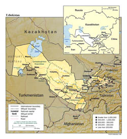 Large political and administrative map of Uzbekistan with relief - 1995.