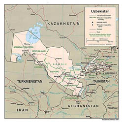 Large political and administrative map of Uzbekistan with roads and major cities - 1994.