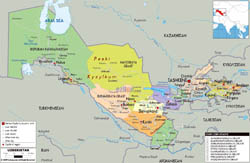 Large political and administrative map of Uzbekistan with roads, cities and airports.
