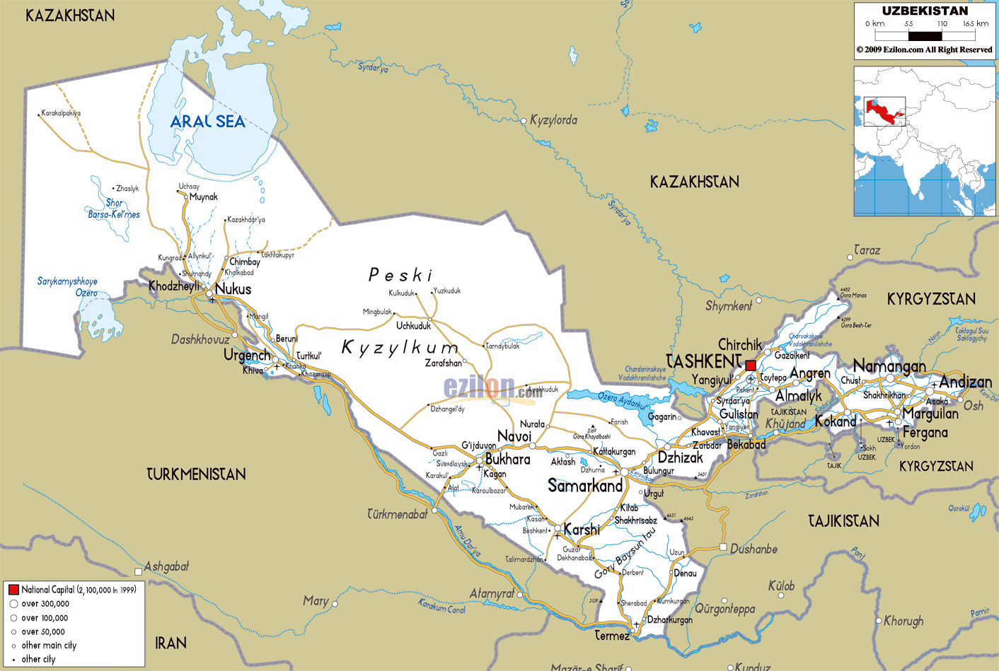 Maps Of Uzbekistan Detailed Map Of Uzbekistan In English - Uzbekistan interactive map