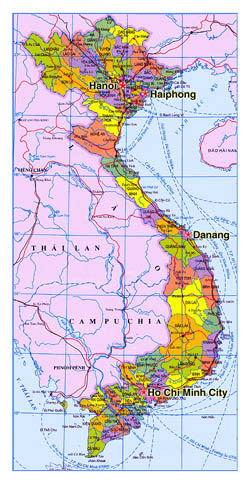Administarative map of Vietnam.