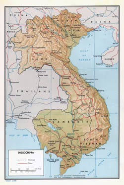 Detailed political map of Indochina with relief - 1968.