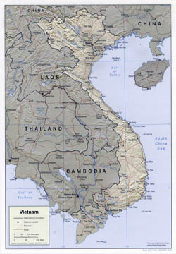 Detailed political map of Vietnam with relief, roads and major cities - 2001.