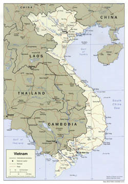 Detailed political map of Vietnam with roads and major cities - 2001.
