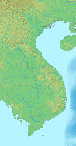 Detailed relief map of Vietnam.