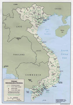 Large administrative divisions map of Vietnam - 1992.
