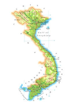 Large elevation map of Vietnam with roads, cities and airports.