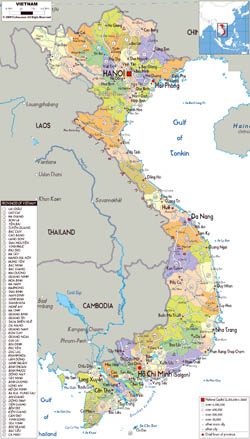 Large political and administrative map of Vietnam with all roads, cities and airports.