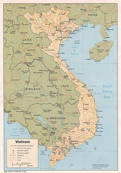 Large political and administrative map of Vietnam with relief, roads and major cities - 1985.