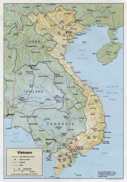 Large political map of Vietnam with relief, roads and major cities - 1992.