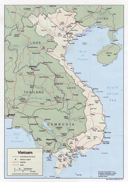 Large political map of Vietnam with roads and major cities - 1992.