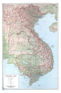 Large scale political map of Indochina with relief - 1970.