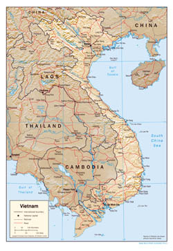 Large scale political map of Vietnam with relief, roads and major cities - 2001.