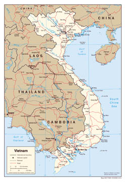 Large scale political map of Vietnam with roads and major cities - 2001.