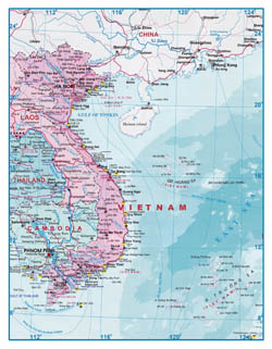 Large scale tourist map of Vietnam and Laos.