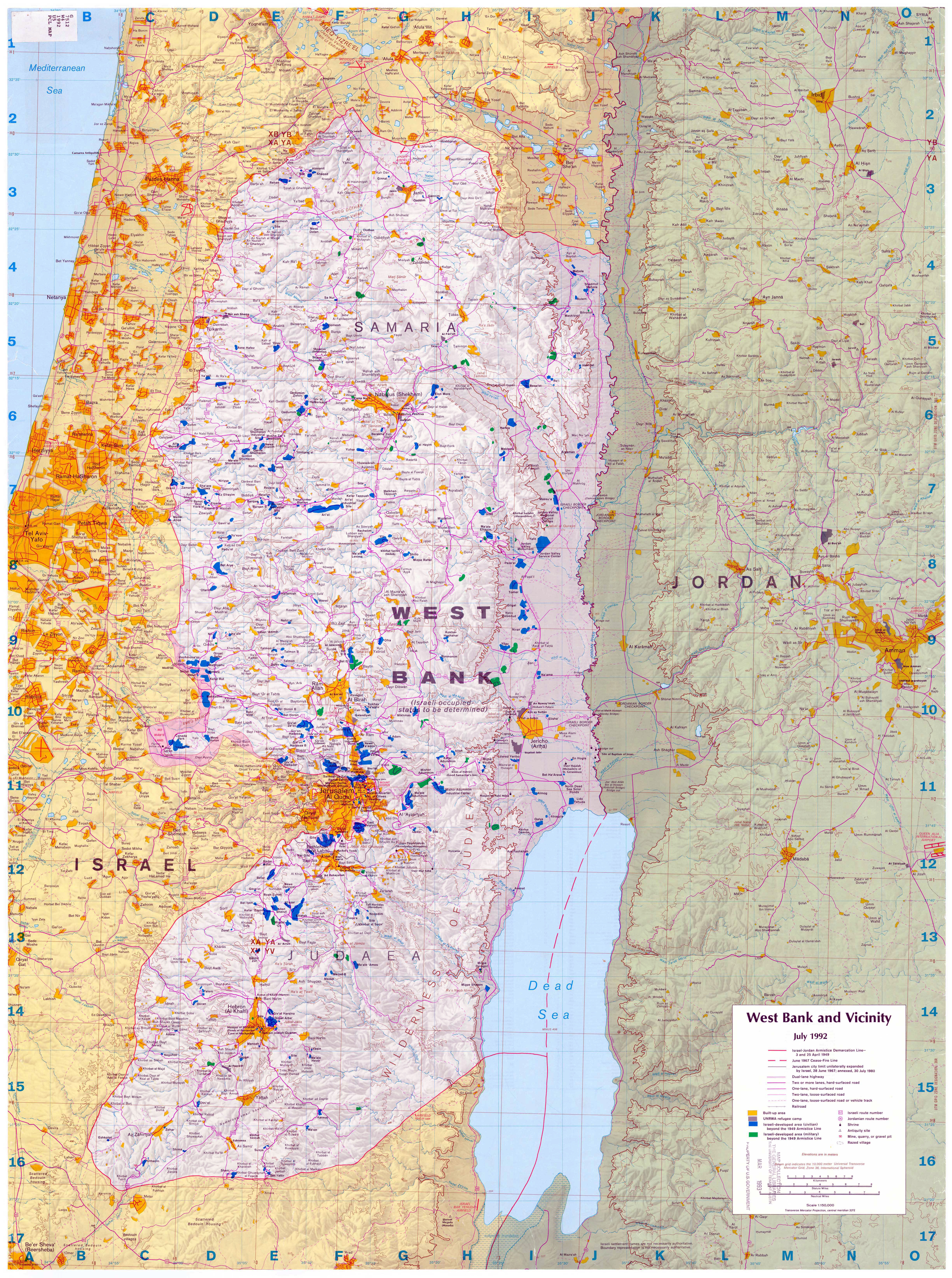 Maps of West Bank Detailed map of West Bank in English Road map