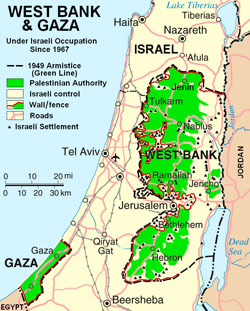Map of West Bank and Gaza Strip.