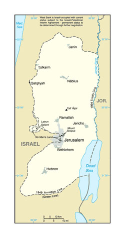 Map of West Bank.