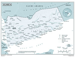 Large detailed political map of Yemen with cities and airports.