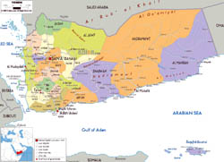 Large political and administrative map of Yemen with all roads, cities and airports.