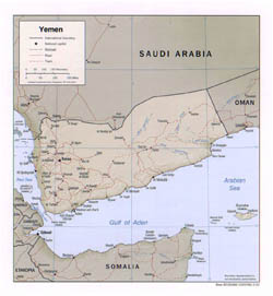 Large political map of Yemen with relief - 2002.